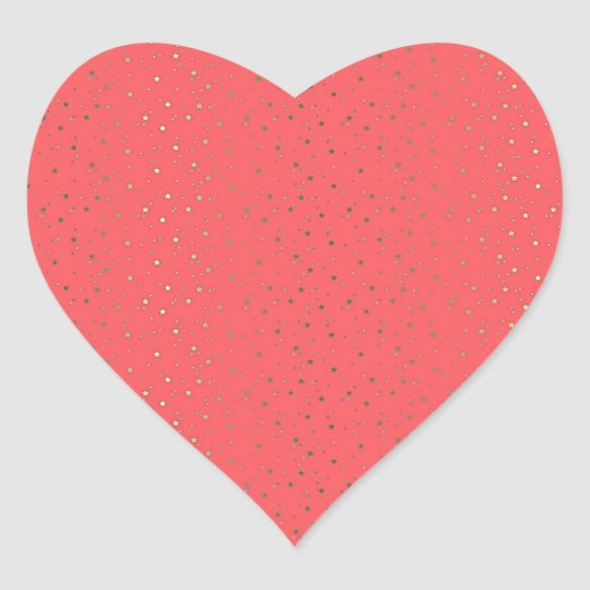 Coral Tiny Golden Stars Heart Sticker