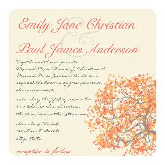 Coral Tree Gray Trunk RaspberryWedding Invites