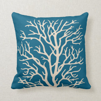 Coral Tree in Cream on Jeweled Teal Blue Cushion