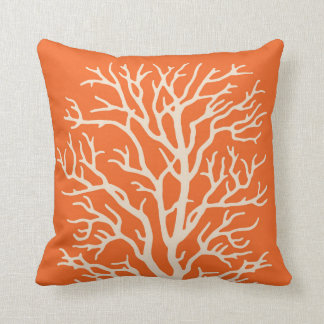 Coral Tree in Cream on Pumpkin Orange Cushion