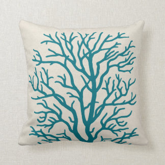 Coral Tree in Teal Blue Cushion