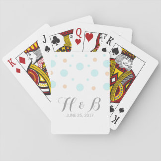 Coral Turquoise Confetti Wedding Playing Cards