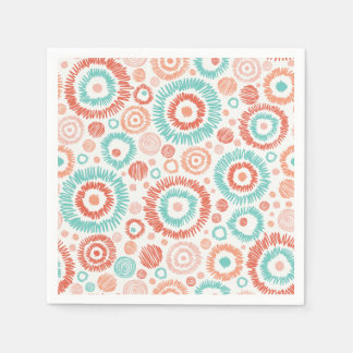 Coral & Turquoise Doodle ZigZag Circles Abstract Paper Napkins