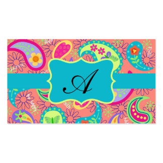 Coral Turquoise Modern Paisley Pattern Monogram Pack Of Standard Business Cards