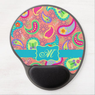 Coral Turquoise Modern Paisley Whimsy Monogram Gel Mouse Pad