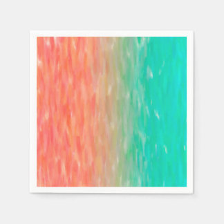 Coral & Turquoise Ombre Watercolor Teal Orange Disposable Napkin