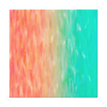 Coral & Turquoise Ombre Watercolor Teal Orange Gallery Wrap Canvas
