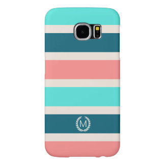 Coral, Turquoise & Teal Stripe Initial Monogram