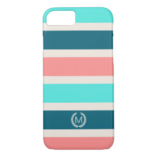 Coral, Turquoise & Teal Stripe Initial Monogram iPhone 8/7 Case