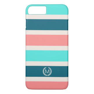 Coral, Turquoise & Teal Stripe Initial Monogram iPhone 8 Plus/7 Plus Case