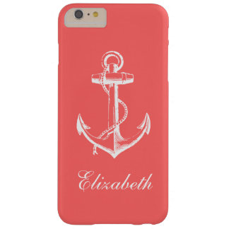 Coral Vintage Anchor Custom Monogram Barely There iPhone 6 Plus Case