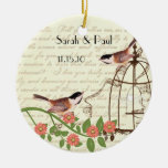 Coral Vintage Bird Save the Date  Bird Cage