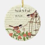 Coral Vintage Bird Save the Date  Bird Cage Round Ceramic Decoration