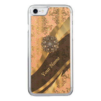 coral vintage damask pattern carved iPhone 8/7 case