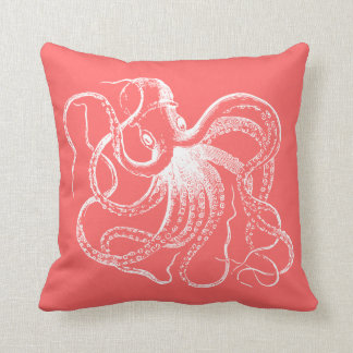 Coral Vintage Octopus and Nautical Stripes Cushion