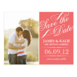 Coral Vintage Script Photo Save the Date