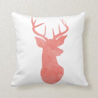 Coral Watercolor Antler / Deer Modern Cushion