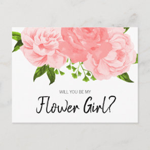 Coral Watercolor Floral Be My Flower Girl Postcard