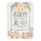 Coral Watercolor Flowers and Gold Bachelorette Card