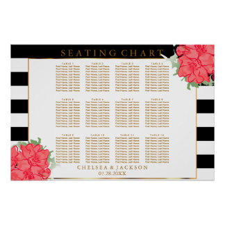 Coral Watercolor Flowers - Seating Chart Poster