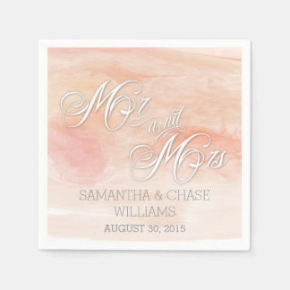CORAL WATERCOLOR MODERN WEDDING DISPOSABLE NAPKIN