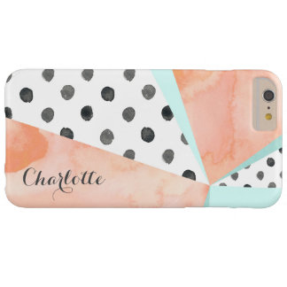 Coral Watercolor Name Color Block iPhone 6/6s Plus Barely There iPhone 6 Plus Case