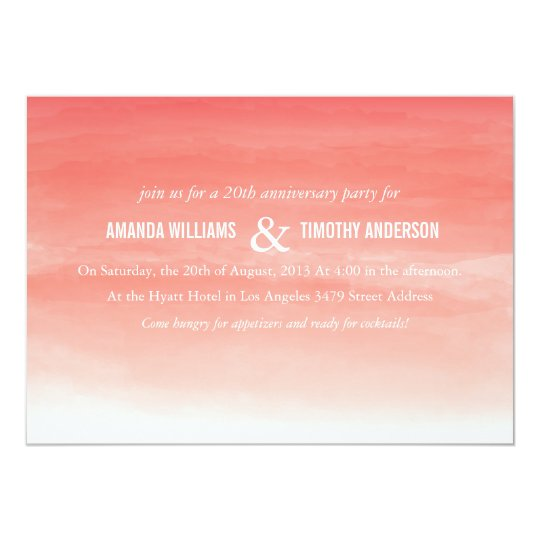 Coral Watercolor Ombre Anniversary Party Invite