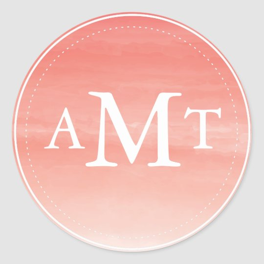 Coral Watercolor Ombre Monogram Classic Round Sticker