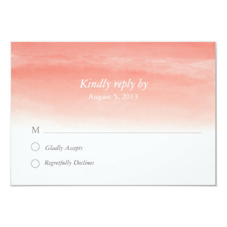 Coral Watercolor Ombre Response Card
