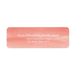Coral Watercolor Ombre Return Address Label