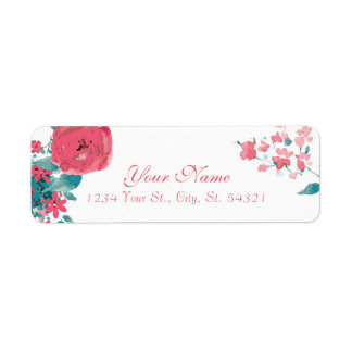 Coral Watercolor Rose to Be Address Labels