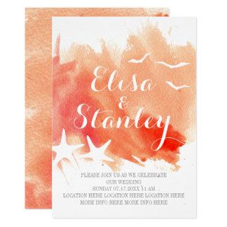 Coral watercolor splash, starfish beach wedding card