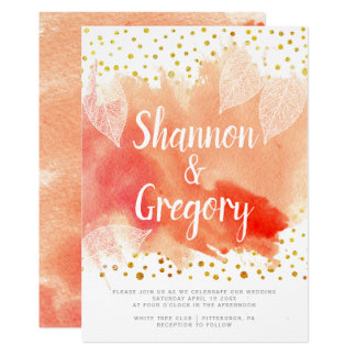 Coral watercolor with leaves gold confetti wedding card