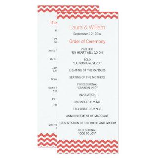 Coral Wave Chevron Wedding Program 10 Cm X 24 Cm Invitation Card