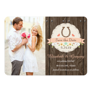 Coral Western Horseshoe Save the Date Card 13 Cm X 18 Cm Invitation Card
