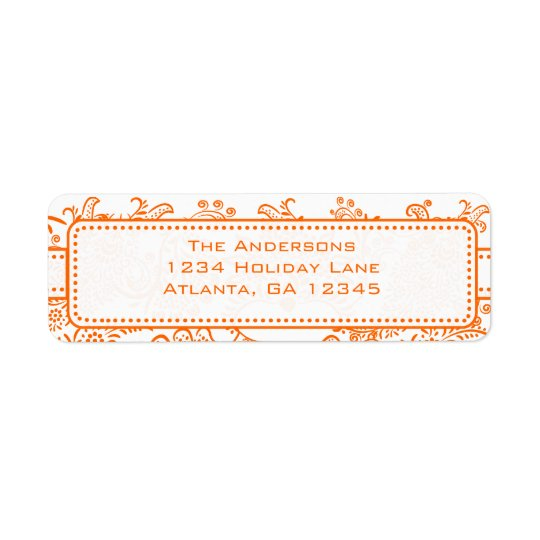 Coral Whimsical Love Bird Swirls Return Address