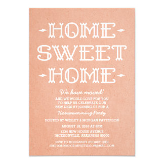 Coral Whimsical Sweet Home Housewarming Party 13 Cm X 18 Cm Invitation Card