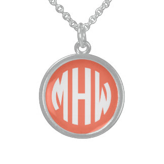 Coral White 3 Initials in a Circle Monogram Round Pendant Necklace