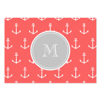 Coral White Anchors Pattern, Gary Monogram Pack Of Chubby Business Cards