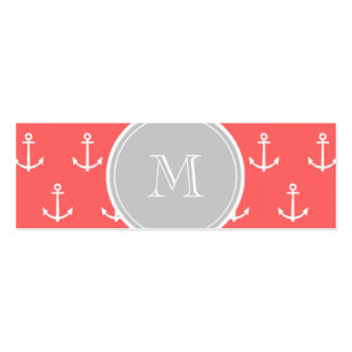 Coral White Anchors Pattern, Gary Monogram Pack Of Skinny Business Cards