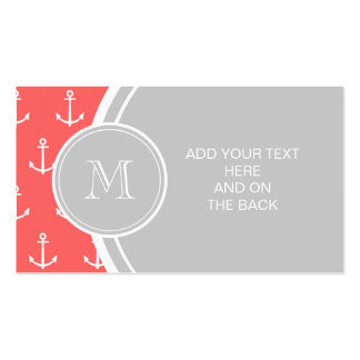Coral White Anchors Pattern, Gary Monogram Pack Of Standard Business Cards