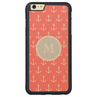 Coral White Anchors Pattern, Gary Monogram Carved® Maple iPhone 6 Plus Bumper Case