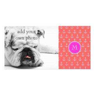 Coral White Anchors Pattern, Hot Pink Monogram Photo Card Template