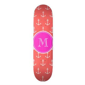 Coral White Anchors Pattern, Hot Pink Monogram Skate Board