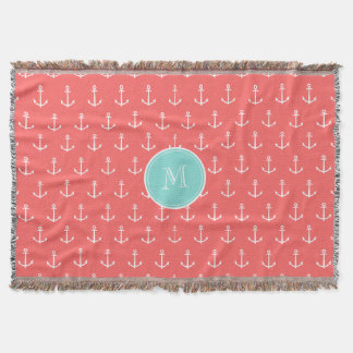 Coral White Anchors Pattern, Mint Green Monogram