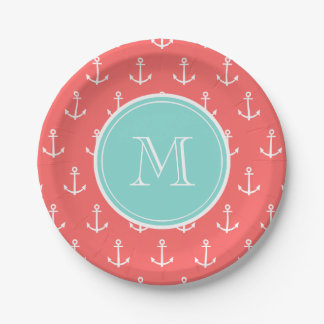 Coral White Anchors Pattern, Mint Green Monogram Paper Plate