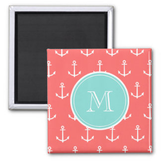Coral White Anchors Pattern, Mint Green Monogram Square Magnet