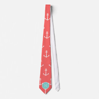 Coral White Anchors Pattern, Mint Green Monogram Tie