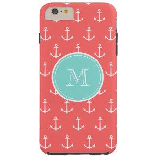 Coral White Anchors Pattern, Mint Green Monogram Tough iPhone 6 Plus Case