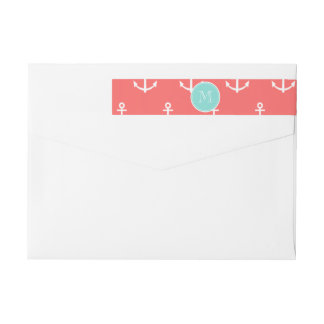 Coral White Anchors Pattern, Mint Green Monogram Wrap Around Label